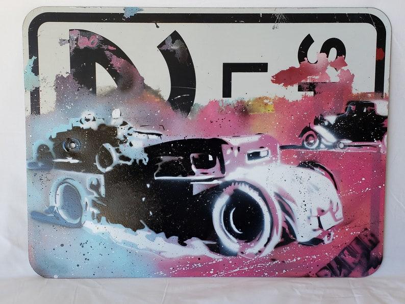 Original Up-cycled Artwork  Rod Race  Signed Acrylic on image 0