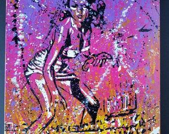 Canvas Wall Art- 100ft women in Wrigley Field- Signed, Original Art-Acrylic on 16x20 canvas - Stencil Art - By Baker Joe Art