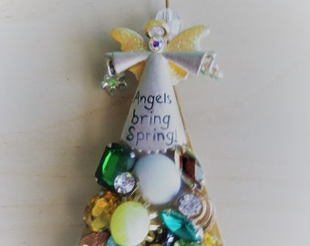 Angel Springtime Ornament Collage Assemblage Vintage Costume Jewelry Free Shipping