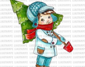 Digital stamp - ChristmasTree Boy. Christmas digital stamp.winter digital stamp. LiaStampz