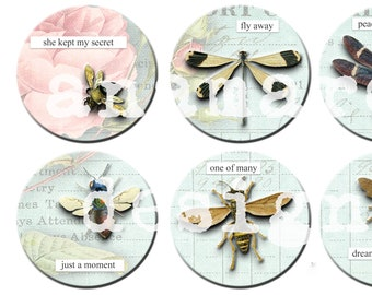 """Insects with and without words Collage 2.5"""" Circles DIGITAL DOWNLOAD,  book of shadows, notebook, memory keeping, scrapbook,  art journal"""