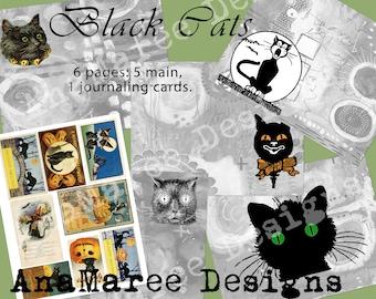 Black Cat Journal Kit, digital journal kit, junk journal, Halloween, journaling cards