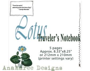 Lotus Leaf TN Journal Kit, digital journal kit, notebook, junk journal, journaling cards, floral, traveler's notebook, tn journal