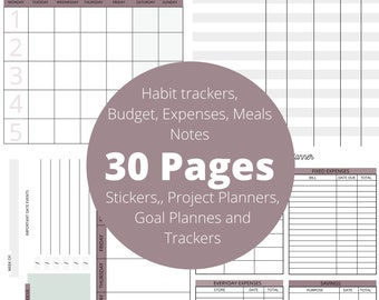 Planner Printable, Trackers, stickers, goals, bullet journal, Digital Planner, Printable Planner, Planner Pages