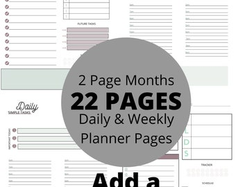 Weekly Daily Planner Printable, Digital Planner, Planner, Printable Planner, Planner Pages, Downloadable Planner, Digital Planner Pages