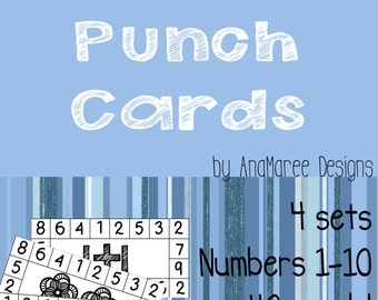 Homeschool Printable: Do-a-dot math, numbers, clip cards, punch cards