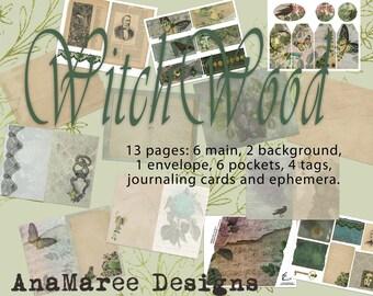 WitchWood Journal Kit, digital journal kit, junk journal, digital papers, mushroom, nature, magic, skull, floral, frog, snake, halloween