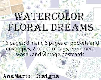 Watercolor Journal Kit, wild flower digital journal kit, junk journal, digital papers, nature, floral, leaves, botanical, ephemera, envelope