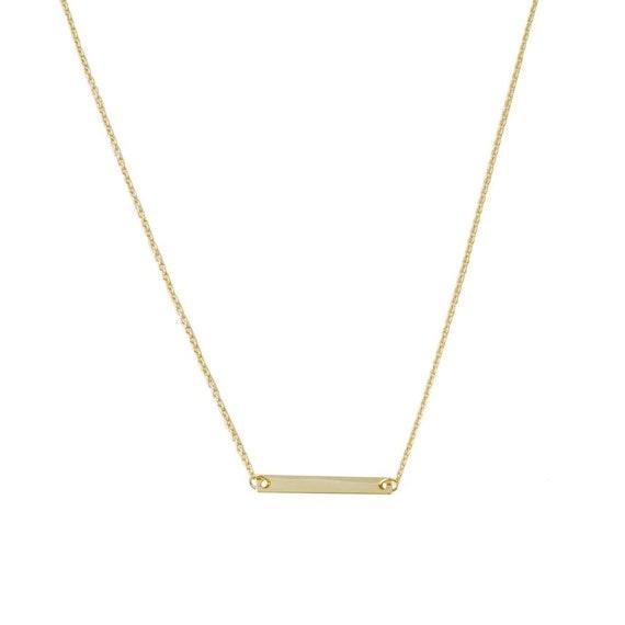 HONEYCAT Mini Drop Bar Necklace in 18k Rose Gold Plate Minimalist Delicate Jewelry