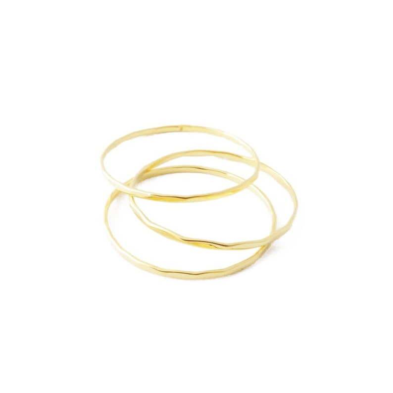 or Silver Delicate Jewelry Minimalist HONEYCAT Dome Top Ring Band in Gold Rose Gold
