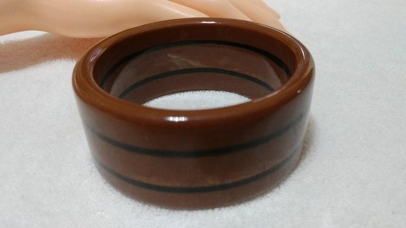 Vintage Brown and Black Striped Lucite Bangle Bracelet