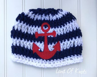 Newborn sailor hat, crochet sailor hat, toddler anchor hat, nautical beanie, anchor beanie, baby boy hat, baby crochet hat