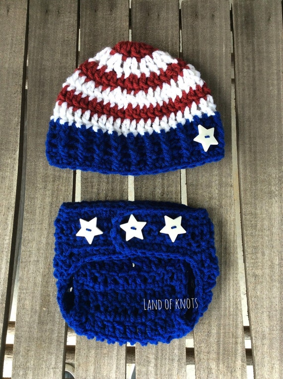 Crochet patriotic newborn outfit american flag outfit baby  72590a4fd676