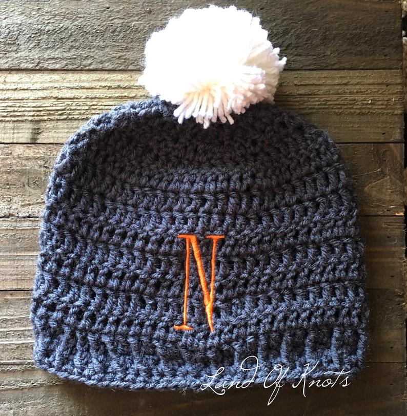 fd5e5d5982e1a Personalized crochet beanie, Monogram beanie, crochet beanies, personalized  winter hats, initital hat, customized crochet beanie