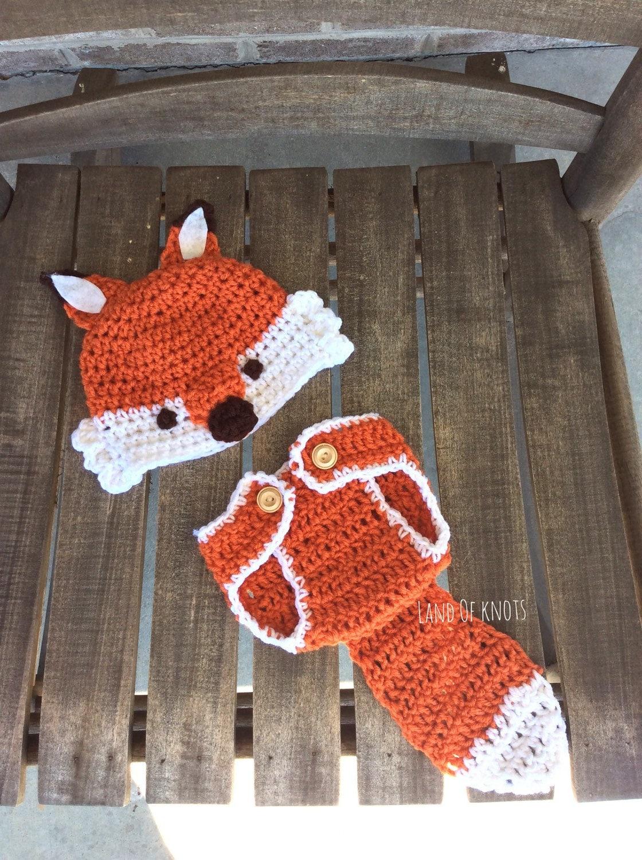 Crochet fox newborn outfit crochet fox fox hat fox diaper  2be1f07ec0e