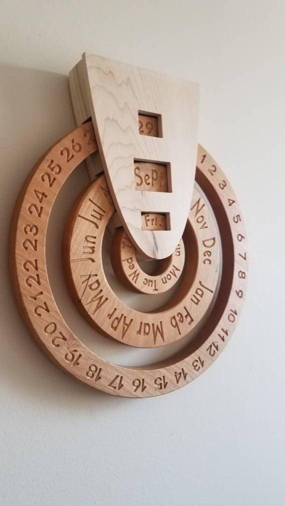 Perpetual Calendar Wooden Perpetual Calendar Wood Calendar Etsy