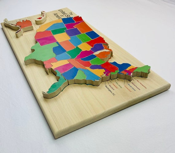 Usa Map Puzzle Wooden Puzzle Map Of The United States Etsy - Interactive-us-map-puzzle