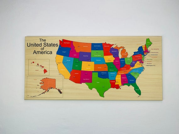 USA Map, Wooden map, Map of the united states, Montessori Map, States map,  Homeschool decoration, Decorative map, Map with state capitols