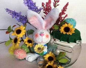 Bunny Candy Holder, Easter Candy Jar ~ 'Sunny' the Sunflower Garden Bunny, Easter Decor, Bunny Figurine, Handmade Candy Jar, Gift Idea