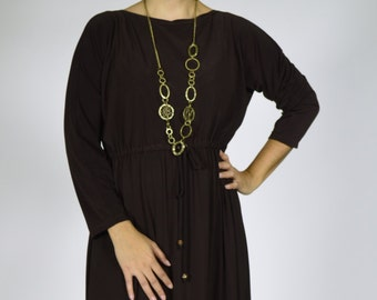 Boat neck dolman sleeve maxi /// Maxi dress, long sleeve, casual dress