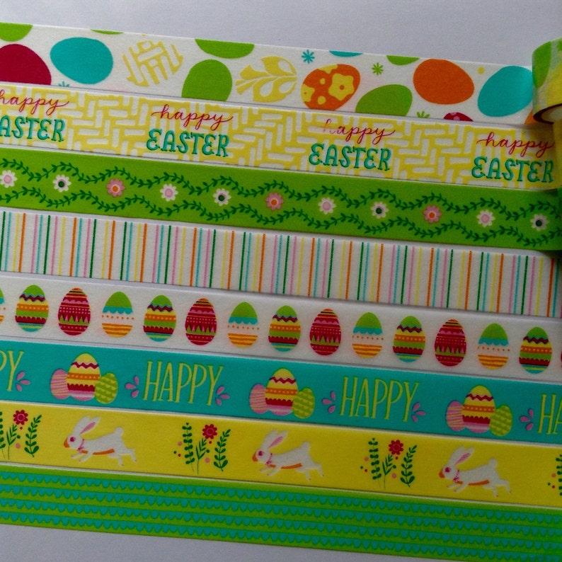 24 Happy Easter Spring Eggs Bunny Washi Tape Samples for Erin Condren Life Planner Filofax MTN Pocket Letter Flip Book