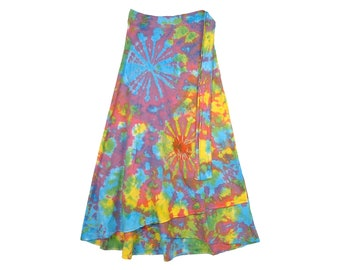0b6e80e454 Hippie Hand Tie Dye Skirt in Cotton For Summer Petite Ankle Length Wrap  Around Style