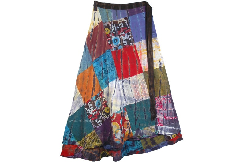 Plus Size Square Patchwork Long Wrap Around Skirt in Cotton in Multicolor Gypsy Hippie Plus Size Clothing