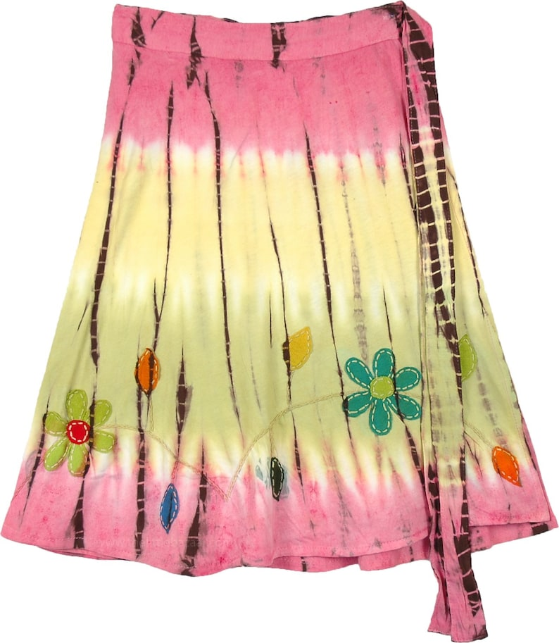 Knit Cotton Tie Dye Knee Length Short Wrap Around Skirt with Hand Cut Floral Appliques