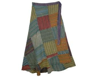 Plus Size Wrap Around Skirt Long Cotton Patchwork Skirt Hippie All Season Skirt