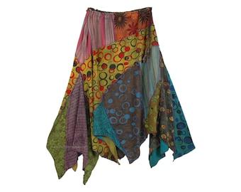 Asymmetrical Banjara Patchwork Skirt