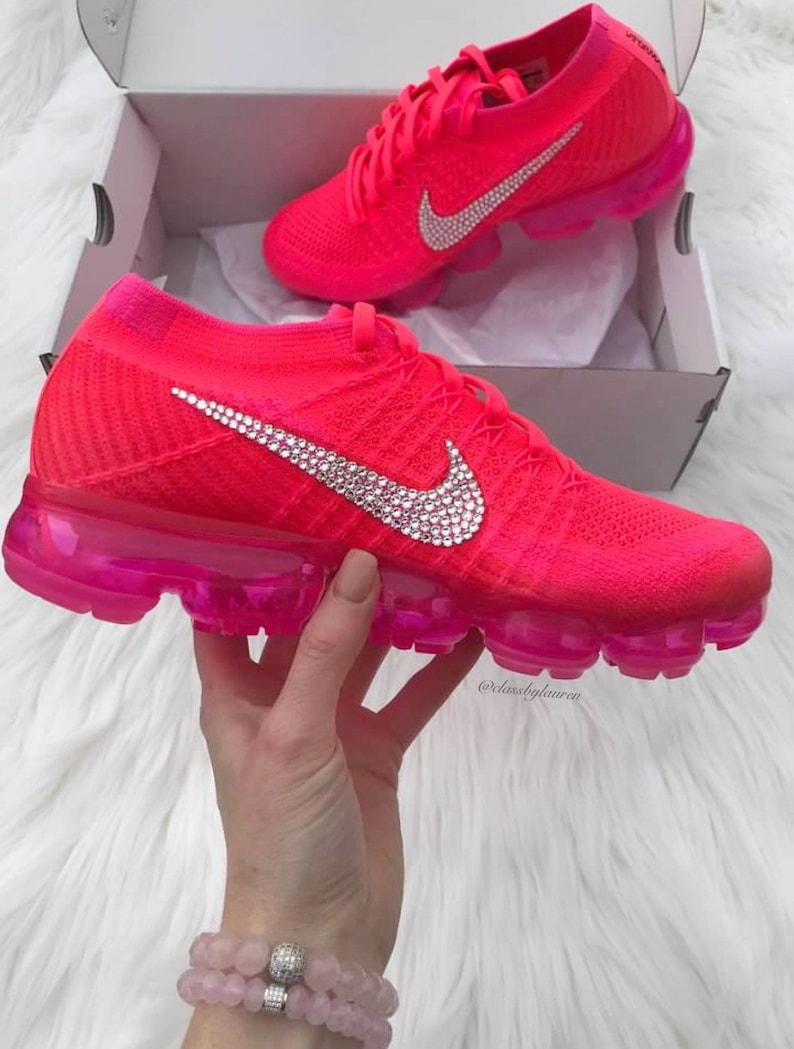 47f5f4a623334 Swarovski Hot Pink Nike Air VaporMax Flyknit Shoes