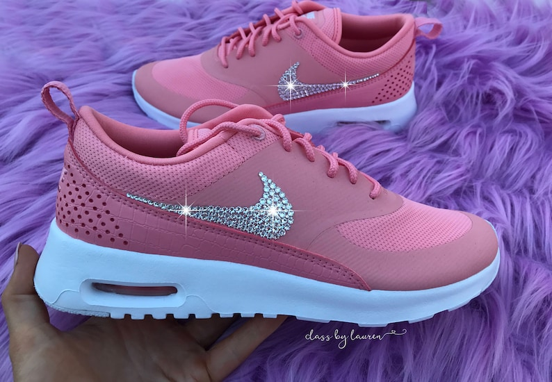 Swarovski Nike Air Max Thea Pink Shoes Crystals  95554d4fa1