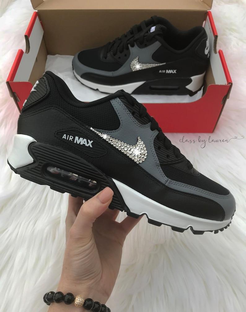 new product 6dd44 d282a Swarovski Nike Air Max 90 Black Gray Shoes Crystals   Etsy