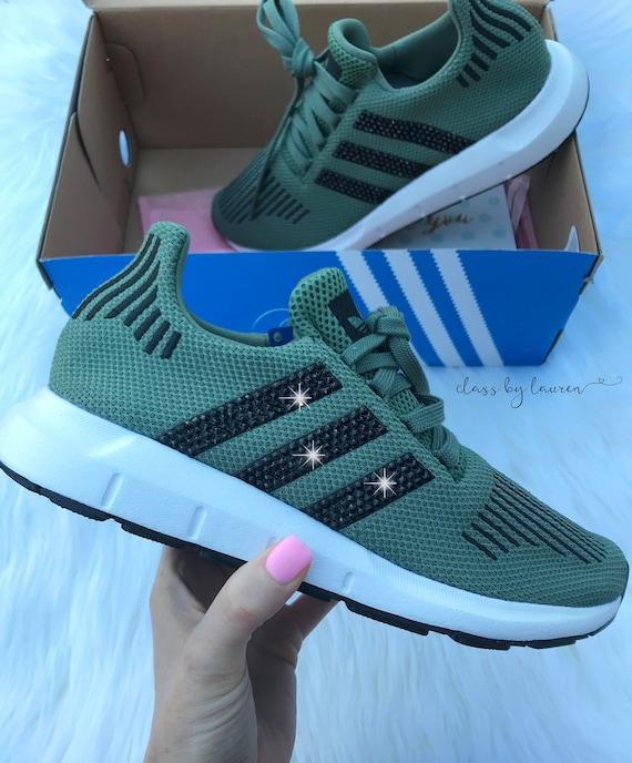 8398a374f95ec Swarovski Adidas Swift Run Olive Girls Womens Shoes