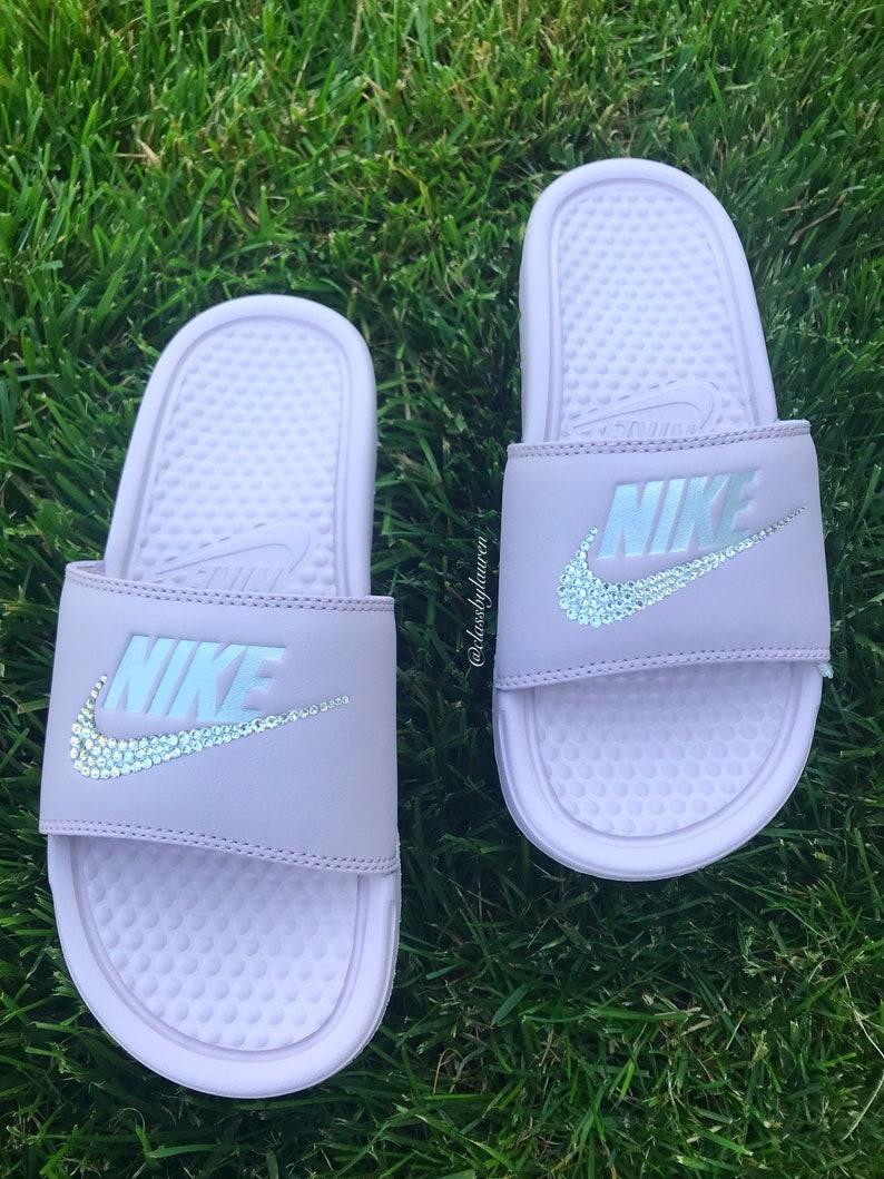 huge discount 08707 fb59c Swarovski Nike Benassi Slides Pink   Etsy