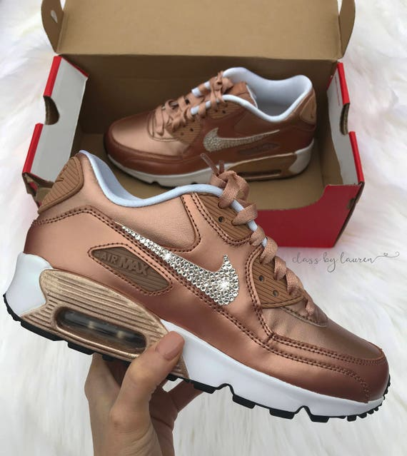 new concept f87a4 6c52c Swarovski Rose Gold Nike Air Max 90 Shoes   Etsy