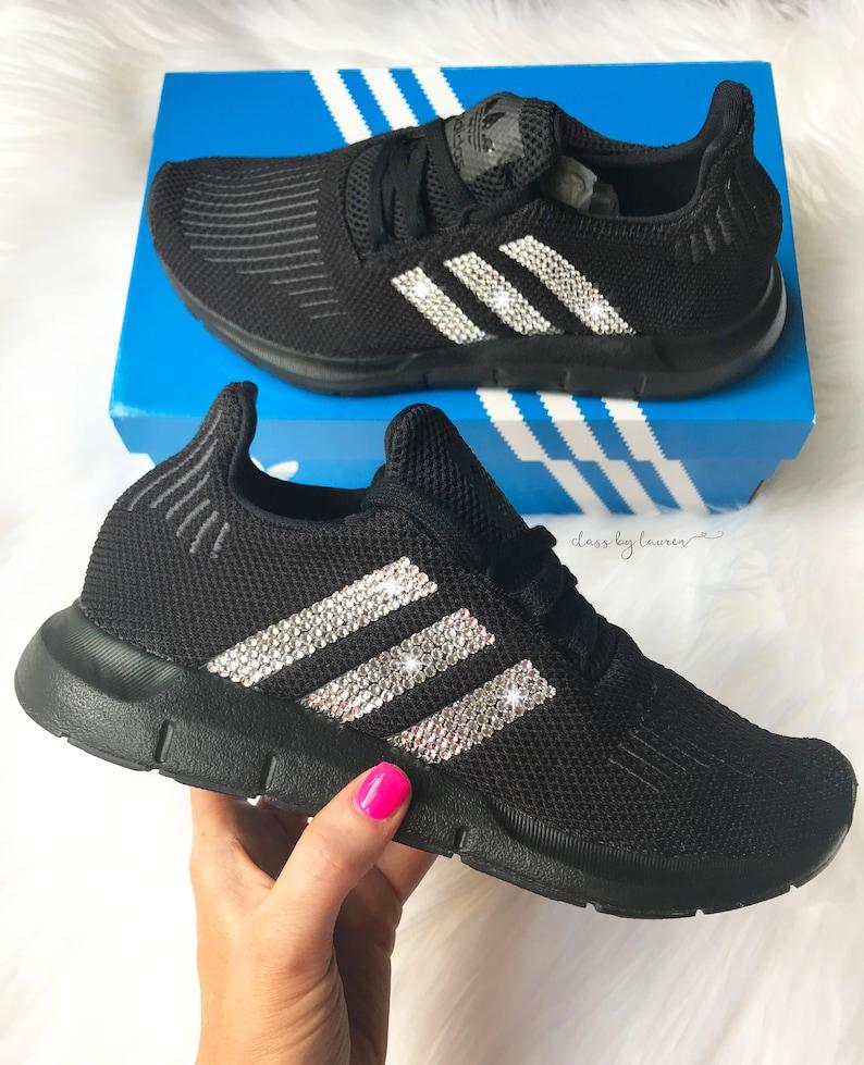 614c9def9 Swarovski Adidas Swift Run Black Girls Womens Shoes
