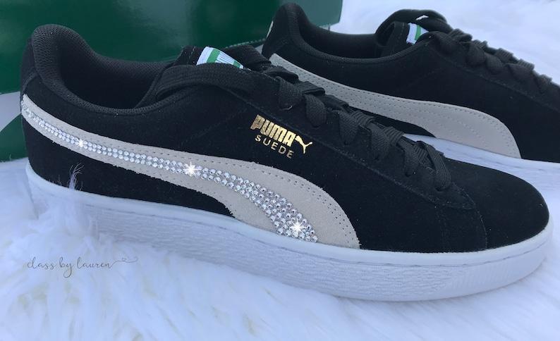 dee3910536c Swarovski Classic Suede zwart Puma schoenen   Etsy
