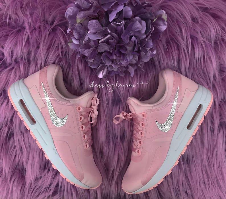 hot sale online 71da5 0e0fb Swarovski Pink Nike Air Max Girls Shoes   Etsy