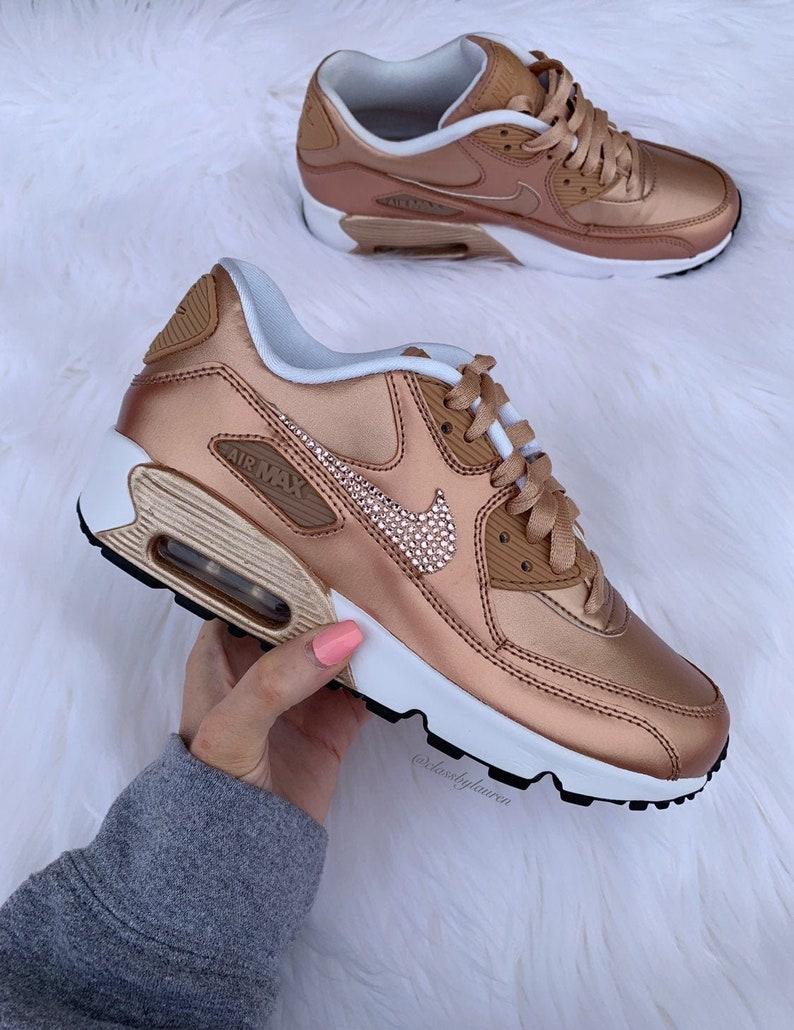 Swarovski Rose Gold Nike Air Max 90 Women Girls Shoes
