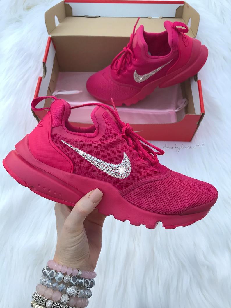 8e3665f37f8 Swarovski Hot Pink Nike Presto Fly Women Girls Shoes