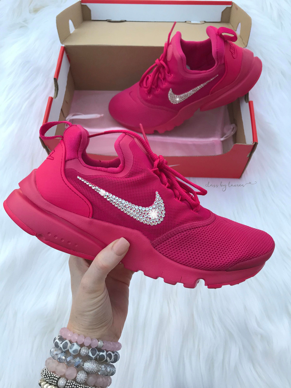b1efcb37a751f Swarovski Hot Pink Nike Presto Fly Women Girls Shoes