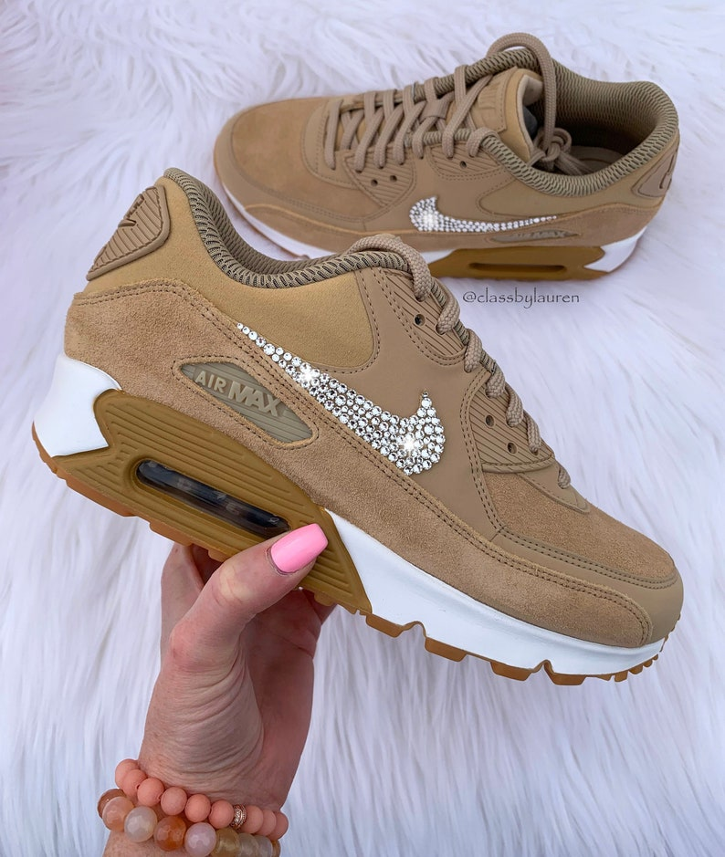 women's nike air max 90 rose gold with swarovski crystals