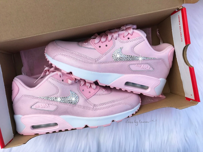 Swarovski Pink Nike Air Max 90 Women Girls Shoes  083dc98bd4