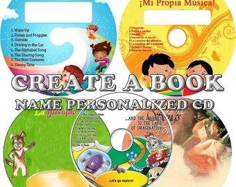 Create A Book Name Personalized CD'S/MP3'S -  Children Songs & His or Hers Adult Love Songs - English, Spanish, French