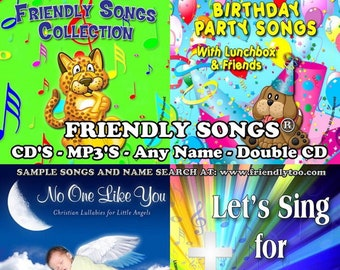 Friendly Songs® Name Personalized Children CD - 10 Albums - MP3's -- Any Name -- Double Albums - Birthdays, Christian, Lullabies, More!