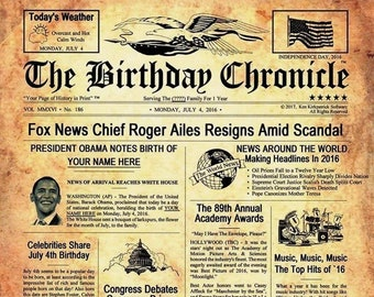 MAIL Birthday Chronicle 8.5x 11 x14 inch - 1/1/1900 to 12/31/2016 - Personalized Newspaper - What Happened On Your Birthday
