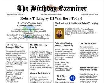 MAIL Birthday Examiner Chronicle Personalized Newspaper- 8.5x11 inch - 1/1/1900 to 12/31/2018 - Birthday & Anniversary