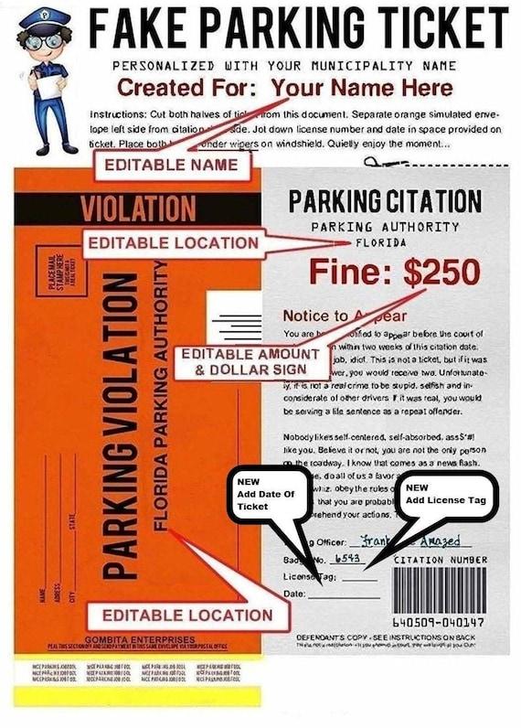 Fine joke parking Parking Ticket