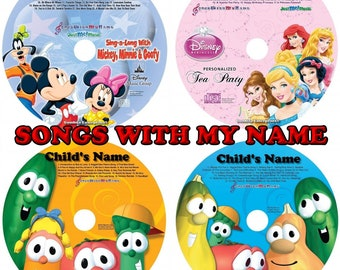 Songs With My Name Personalized Children CD & Optional MP3 Digital Download - Mickey Mouse, Disney Princess, Veggie Tales, Silly Songs